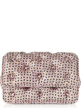 Benedetta Bruzziches Floral Printed Pink Satin Silk Carmen Shoulder Bag