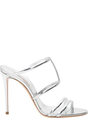 Casadei Silver Sandals With Rhinestones