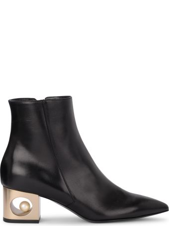 Coliac Pieter Black Leather Ankle Boots With Pearl