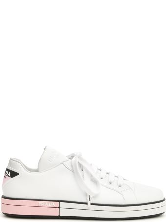 Prada Leather Sneakers With Rubber Logo