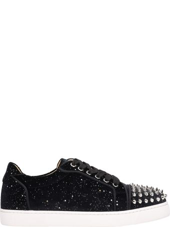 Christian Louboutin Black Suede Viera Spikes Sneakers