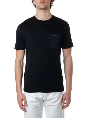 Calvin Klein Black Cotton T-shirt With Logo Pocket