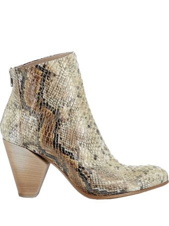 Elena Iachi Beige/gold Leather Ankle Boots