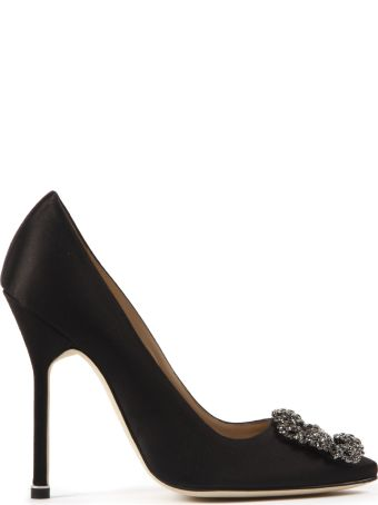 Manolo Blahnik Black Hangisi Satin Jewel Pumps