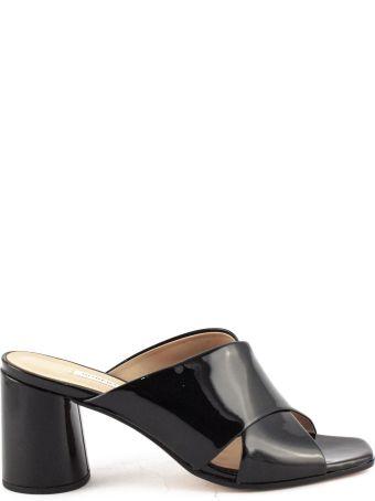 Roberto Festa Black Patent Leather Paper Sandals
