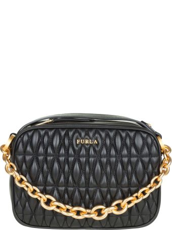 Furla Mini Cometa Bag In Leather Effect Quilted Black Color