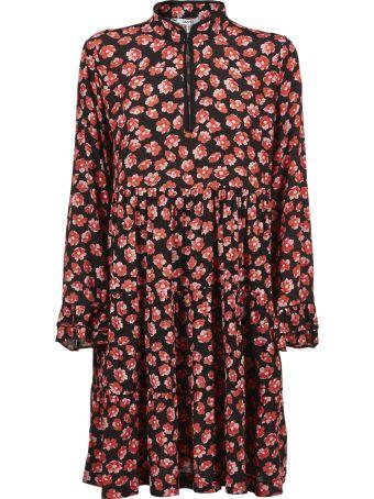 Ganni Floral Print Ruffled Detail Short Dress