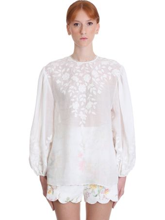 Zimmermann Zinnia Blouse In White Cotton