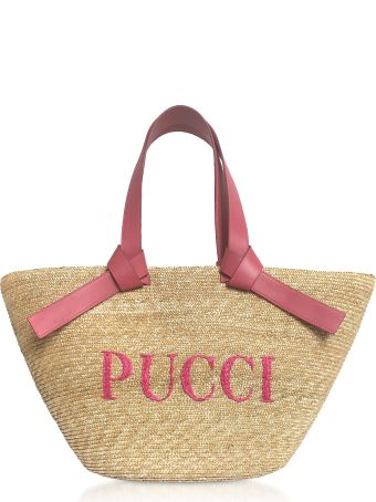 Emilio Pucci Raffia Signature Bucket Bag