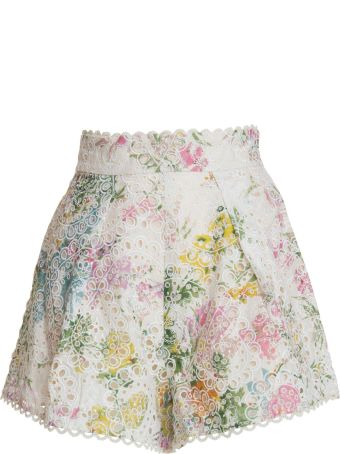 Zimmermann Embroidered High Waisted Shorts In Multicolor