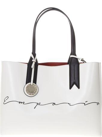 Emporio Armani Shopper Bag In White Faux Leather With Charm Logo