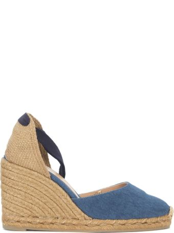 Castañer Carina Natural Jute And Blue Washed Fabric Wedge Sandal
