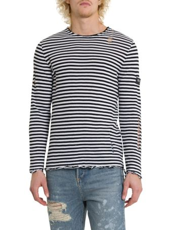 Balmain Striped Dévoré Long Sleeve Tee