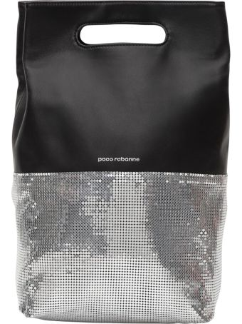 Paco Rabanne Black And Silver Folding Leather Clutch Bag