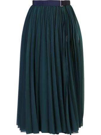 Sacai Pleated Cotton Blend Skirt