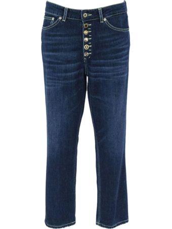Dondup Blue Cotton Boyfriend-fit Stretch Jeans.