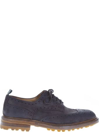 Green George Blu Leather Lace-up Shoes With Brogue