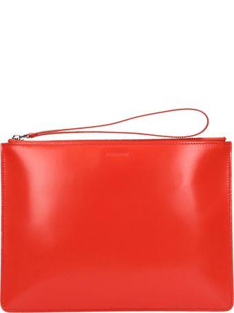 Jil Sander Red Leather Logo Clutch Bag