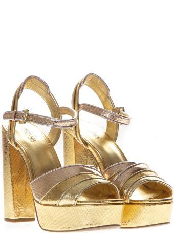MICHAEL Michael Kors Platform Sandals In Gold Printed Reptile Leather