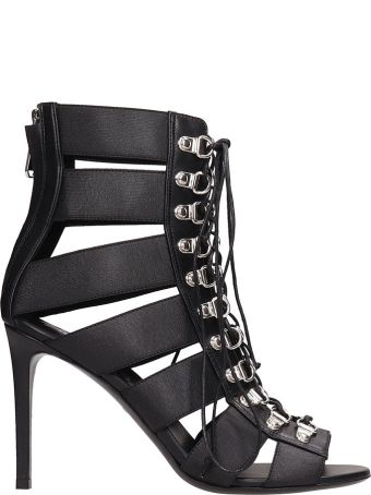 Balmain Black Leather Sandals