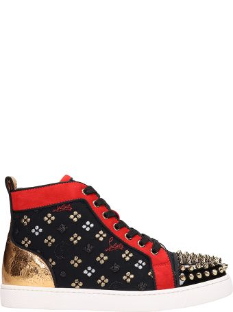 Christian Louboutin Louis Orlato Spikes Black Red Leather Sneakers