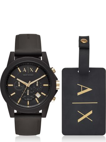 Armani Collezioni Armani Exchange Outerbanks Black Silicone Men's Watch With Luggage Tag