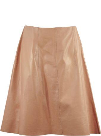Nina Ricci Pink Leather Flared Skirt.