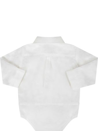 Fendi White Shirt With Double Ff For Babyboy