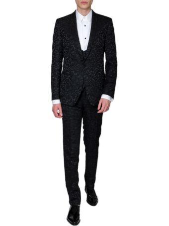 Dolce & Gabbana Black Jacquard Silk Flower Dress