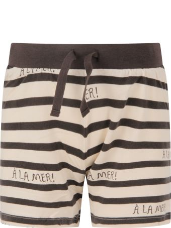 Mini Rodini Ivory And Grey Short For Boy With Grey Writing
