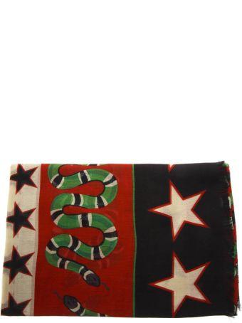 Gucci Black Multicolored Shawl With Iconic Symbols