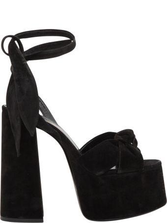 Saint Laurent Paige Suede Platform Sandals