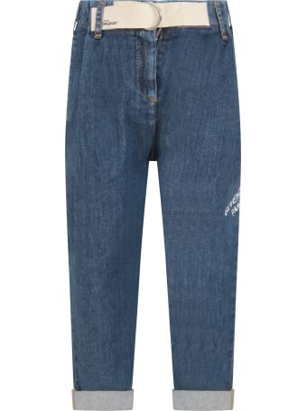 Givenchy Light Blue Jeans For Girl With Logo