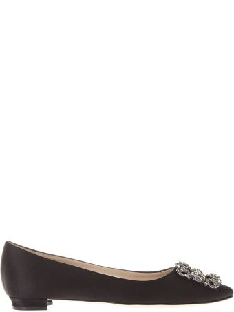 Manolo Blahnik Black Satin Jewel Buckled Flats Ss18