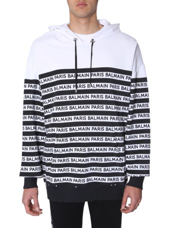 Balmain Striped Sweatshirt With Logo