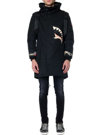 Sprayground Black Asymmetric Fish Polyester Jacket
