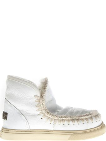Mou White Waxy Wool & Leather Boots Sneakers