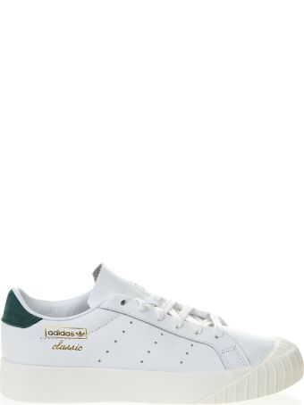 Adidas Originals Everyn White Leather Sneakers With Green Nubuck Insert