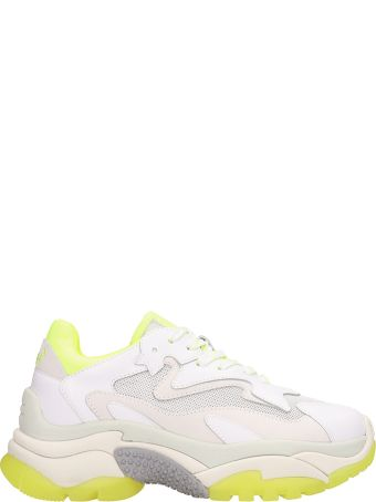 Ash Addict Trainers White Yellow Leather And Mesh