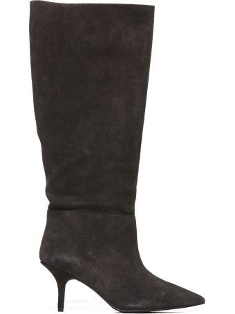 Yeezy Knee-high Boots From Yeezy: Black Knee-high Boots With Pointed Toe, Branded Insole, Knee-length And Mid High Stiletto Heel.