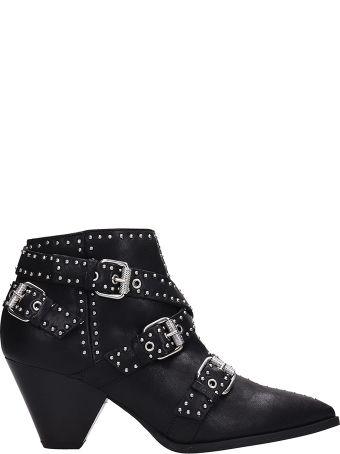 Janet & Janet Studded Black Leather Ankle Boots