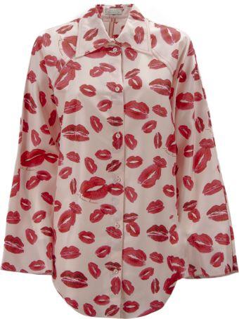 Nina Ricci Pink Silk All-over Lips Print Shirt.