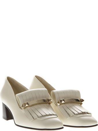 Valentino Garavani Ivory Fringe Mocassin In Leather