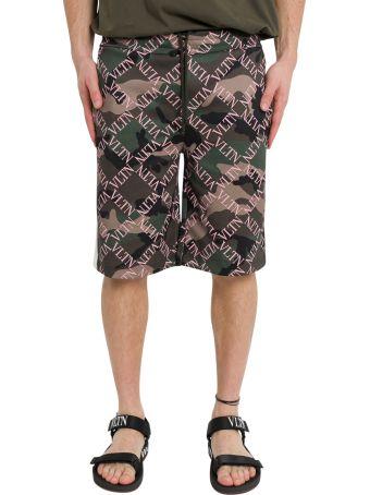 Valentino Camouflage Bermuda Shorts With Vltn Grid Print