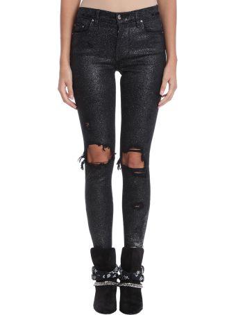 AMIRI Glitter Thrasher Jen Trousers In Black Denim