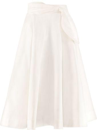 MSGM Cotton Linen Blend Full Skirt