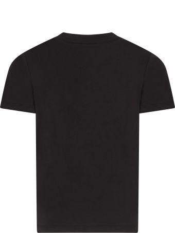Paul Smith Junior Black T-shirt For Boy With Colorful Dinosaur