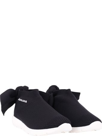 Joshua Sanders Black Sneaker For Girl With White Logo