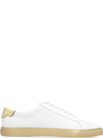 Saint Laurent Andy Perforated Leather Lace-up Sneakers