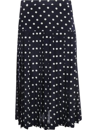 Alessandra Rich Polka Dot Pleated Skirt